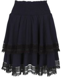 Maje Women's Shirred High-rise Tiered Skirt - Navy - Size 1 (s) - Blue