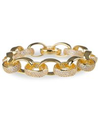 CZ by Kenneth Jay Lane 18k Goldplated & Cubic Zirconia Oval Chain Link Bracelet - Multicolor