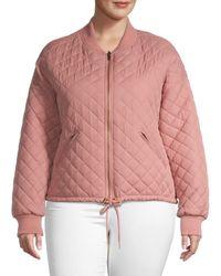 Betsey Johnson Women's Plus Reversible Bomber Jacket - Blush - Size 1x (14-16) - Pink