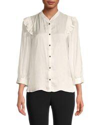 Zadig & Voltaire Women's Mandarin Collar Satin Shirt - Judo - Size L - White