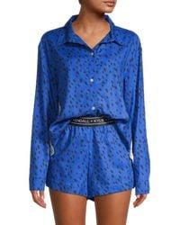 Kendall + Kylie Women's Dalmatian-print 2-piece Pajama Set - Angel Wing - Size L - Blue