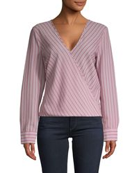 BCBGMAXAZRIA Striped Snap-front Wrap Top - Pink