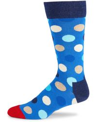 Happy Socks Men's Polka Dot-print Crew Socks - Blue Combo