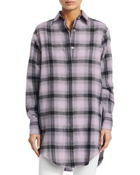 Each x Other Embroidered Printed Checked Cotton-flannel Shirt Lilac - Purple