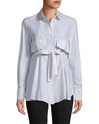 Gentry Portofino Striped Tie-front Cotton Shirt - Blue