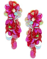 Ava & Aiden Flower Sequin Drop Earrings - Pink