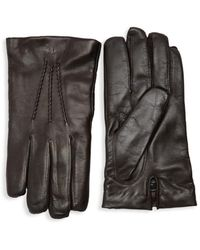 Saks Fifth Avenue Men's Touch Tech Leather Gloves - Brown - Size S