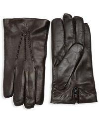 Saks Fifth Avenue Men's Touch Tech Leather Gloves - Cognac - Size L - Brown