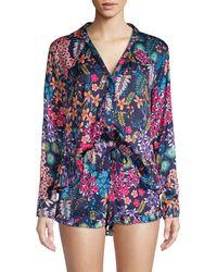 Josie Natori 2-piece Floral Pyjama Set - Blue