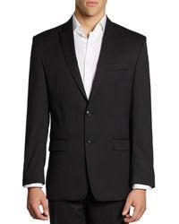 Calvin Klein Men's Classic-fit Pinstriped Wool Jacket - Black - Size 40 L