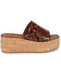 Kurt Geiger Women's Monica Embossed Leather Platform Sandals - Dark Brown - Size 38 (7.5)