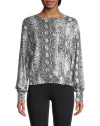 Michael Stars Women's Snakeskin-print Roundneck Sweatshirt - Black Combo - Size L