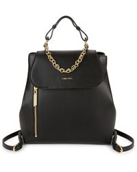 Calvin Klein Faux Leather Backpack - Black