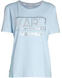 Karl Lagerfeld Women's Embellished Logo T-shirt - Grey - Size S - Blue