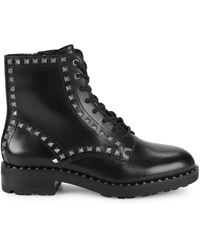 Ash Wolf Studded Leather Boot - Black