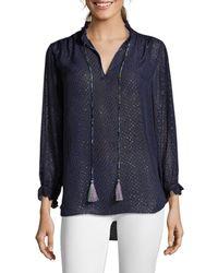 Robert Graham Women's Lizzy Tassel-tie Silk-blend Blouse - Navy - Size Xs - Blue