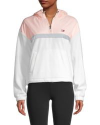Tommy Hilfiger Women's Mixed-media Quarter-zip Hoodie - Cloud Blush - Size Xl - White