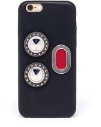 Fendi Faces Leather Iphone 7 Case - Black