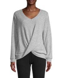 Sweet Romeo Women's V-neck Twist Sweater - Heather Gray - Size S