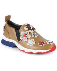 Fendi - Floral Appliqué Leather Sneakers - Lyst