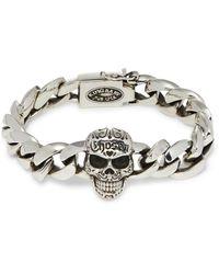 King Baby Studio Sterling Silver Chosen Skull Chain Bracelet - Metallic