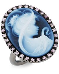 Amedeo Sterling Silver, Blue Agate & Rose Sapphire Cameo Ring