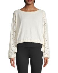 Free People Field Of Dreams Cropped Pullover - White