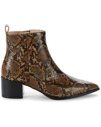 Saks Fifth Avenue Emerson Snakeskin-embossed Leather Booties - Brown