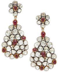 Artisan Two-tone, Ruby & Diamond Drop Earrings - Multicolor