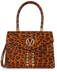 Valentino By Mario Valentino Melanie Animalier Embossed-leather Leopard Satchel - Brown