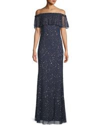Adrianna Papell Embellished Column Gown - Blue