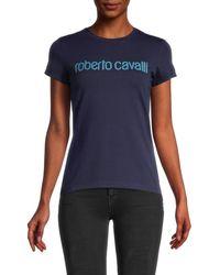 Roberto Cavalli Women's Logo T-shirt - Navy - Size Xs - Blue
