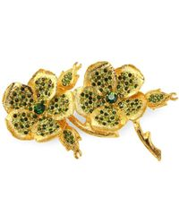 Kenneth Jay Lane Crystal & 22k Goldplated Clover Pin - Yellow