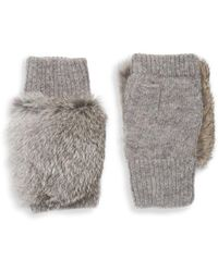 Adrienne Landau Dyed Rabbit Fur-trim Fingerless Gloves - Gray