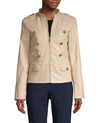 Calvin Klein Buttoned Faux-leather Jacket - Natural