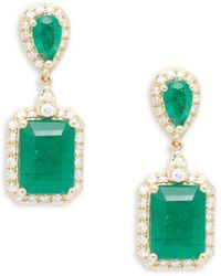 Effy 14k Yellow Gold, Emerald & Diamond Drop Earrings - Multicolour