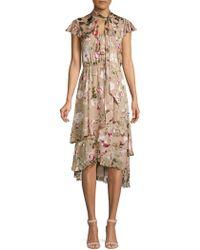 Alice + Olivia - Lavenia Asymmetric Tiered Popover Dress - Lyst