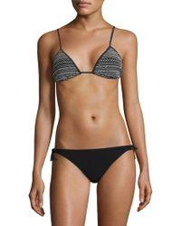 Kisuii Bella Smocked Triangle Bikini Top - Black
