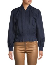 FRAME Women's Pintuck Bomber Jacket - Navy - Size Xs - Blue