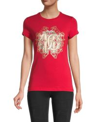 Roberto Cavalli Metallic Monogram Logo T-shirt - Red