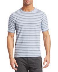 Saks Fifth Avenue Modern Short Sleeve Multicolour Stripe Tee - Blue
