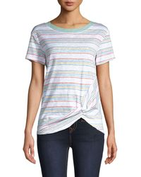 C&C California Striped Twist-front Tee - Blue