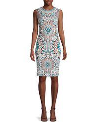 Roberto Cavalli - Women's Sleeveless Mosaic Sheath Dress - White Green - Size 44 (8) - Lyst