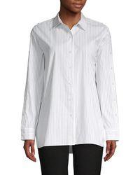 Lafayette 148 New York Women's Trinity Striped Cotton Blouse - White Khaki - Size L