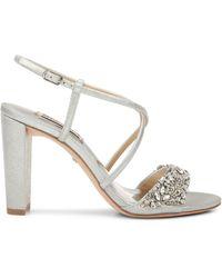 Badgley Mischka Carolyn Ii Faux Crystal-embellished Ankle-strap Sandals - Metallic
