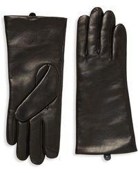 Saks Fifth Avenue Polished Leather Gloves - Black