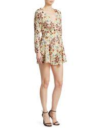 Maje Inora Floral Silk Romper - Multicolor