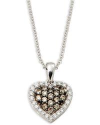 Le Vian Chocolatier 14k Vanilla Gold®, Chocolate Diamonds® & Vanilla Diamonds® Pendant Necklace - Metallic