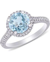 Saks Fifth Avenue 14k White Gold, Aquamarine & Diamond Halo Engagement Ring - Multicolour