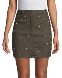 Lea & Viola - Studded Cotton Mini Skirt - Lyst